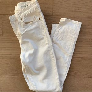 "J Crew 9"" High Rise Skinny White Jeans"